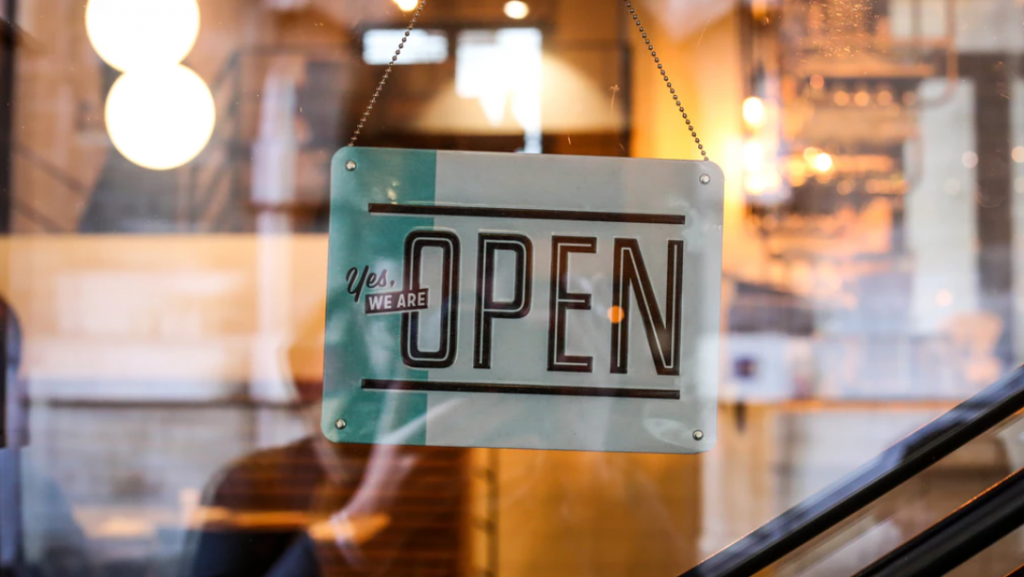Open Sign on small business storefront