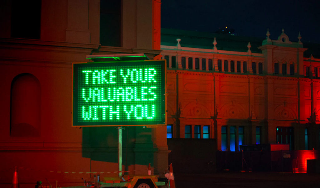 LED sign at construction site