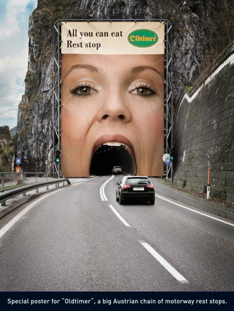 Oldtimer billboard ad