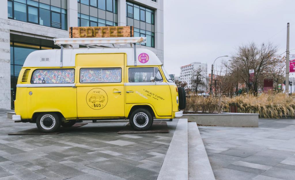 Moving coffee van